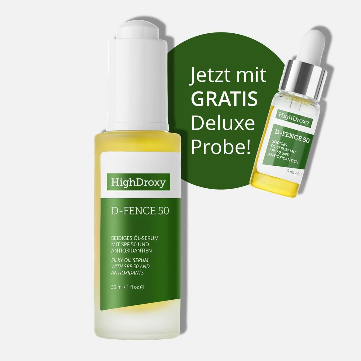 Highdroxy Rabattaktion Sonnenschutzöl Vollgröße mit gratis Deluxeprobe