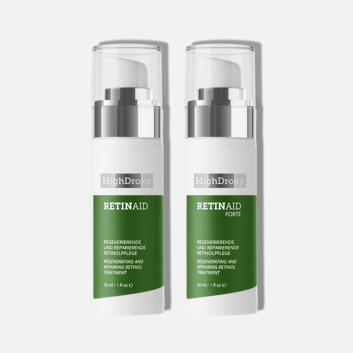 Highdroxy Retinaid und Retinaid Forte als Deluxeprobe Nahaufnahme