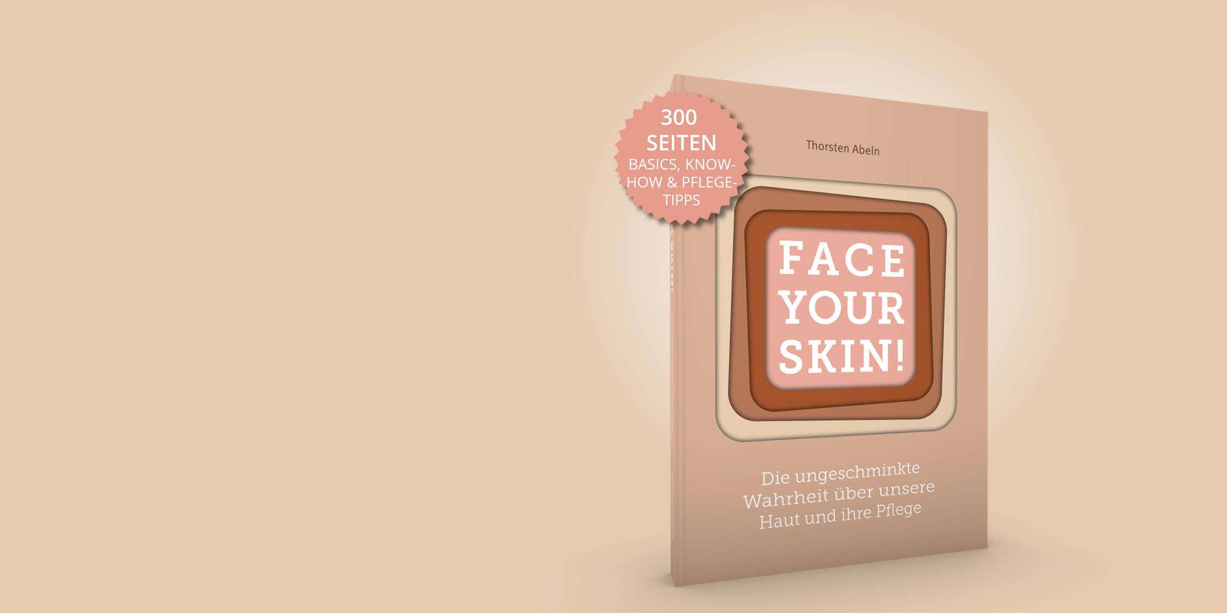 Hautbuch Face your Skin mit Hinweis auf Seitenzahl und Inhalt mit hautfarbenem Hintergrund