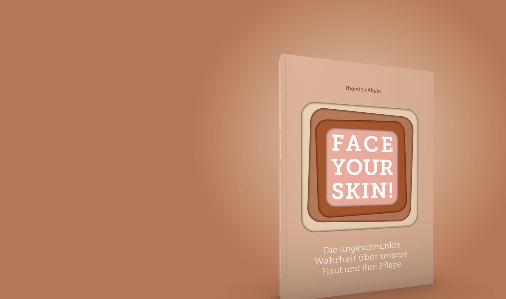 Hautbuch Face your Skin mit hautfarbenem Hintergrund