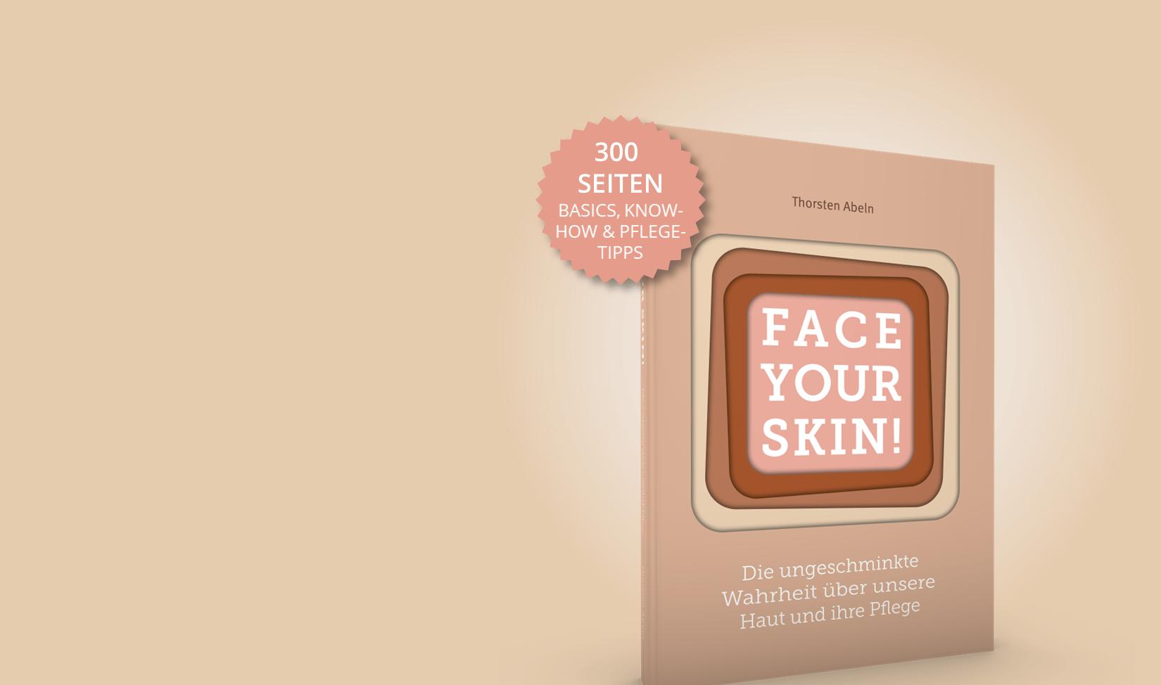 Hautbuch Face your Skin mit Hinweis auf Seitenzahl und Inhalt mit hautfarbenem Hintergrund Anschnitt